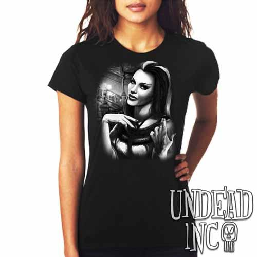 Lilly Munster - Ladies T Shirt Black Grey
