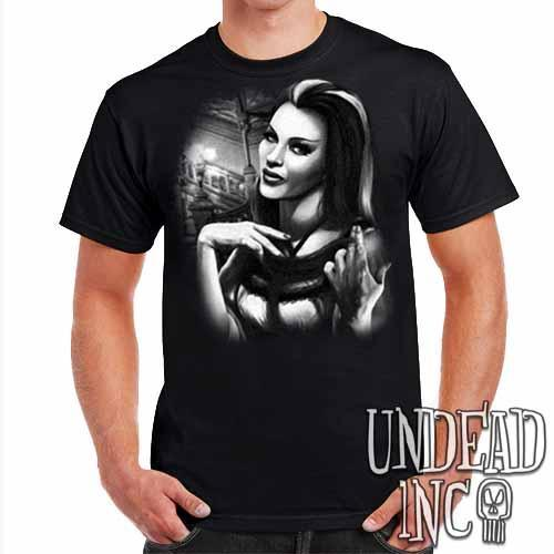 Lilly Munster - Mens T Shirt Black Grey