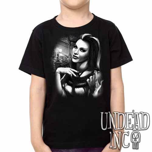 Lilly Munster -  Kids Unisex Girls and Boys T shirt Clothing Black Grey