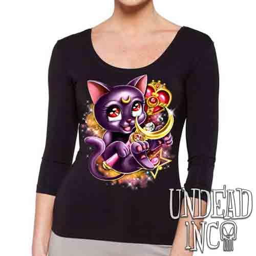 Sailor Moon Luna Crescent Moon Wand - Ladies 3/4 Long Sleeve Tee