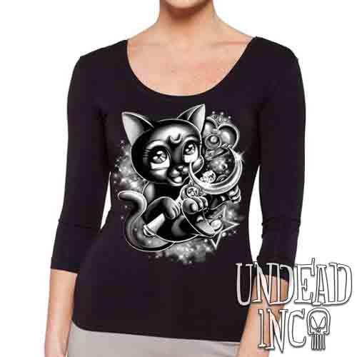 Sailor Moon Luna Crescent Moon Wand Black & Grey - Ladies 3/4 Long Sleeve Tee