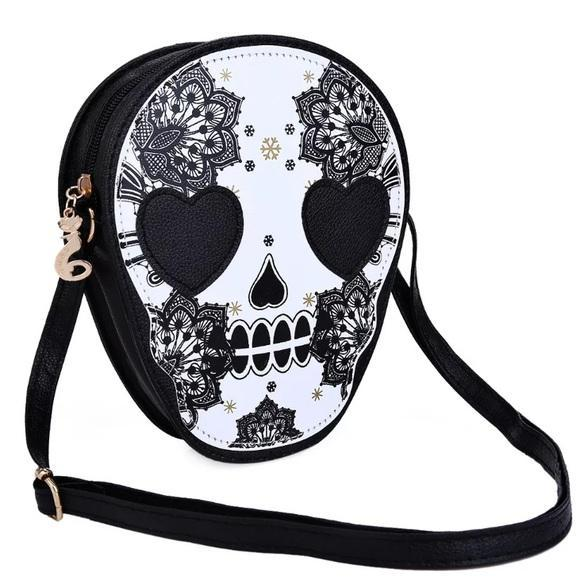 Lace Sugar Skull PU Leather Shoulder / Cross Body Bag