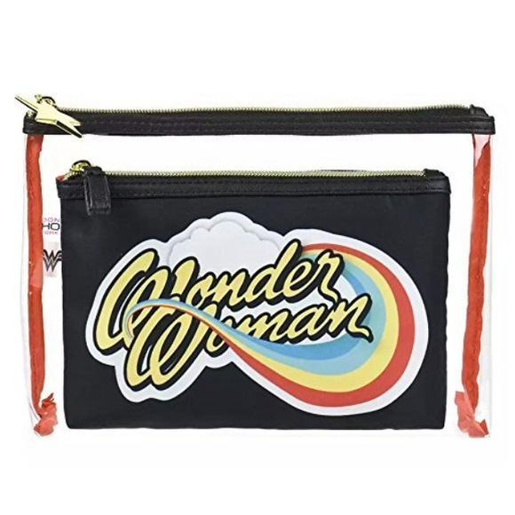 Wonder Woman Travel And Makeup Cosmetics Bag Set Of 2