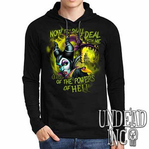 Villains Maleficent - All the Powers of Hell - Mens Long Sleeve Hooded Shirt