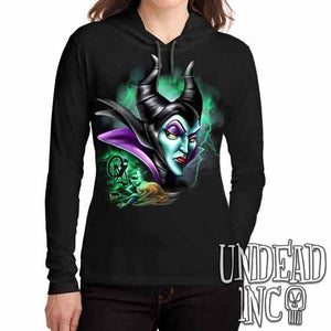 Villains Maleficent Spinning Wheel - Ladies Long Sleeve Hooded Shirt