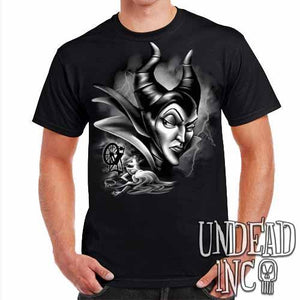 Villains Maleficent Spinning Wheel Black & Grey - Mens T Shirt