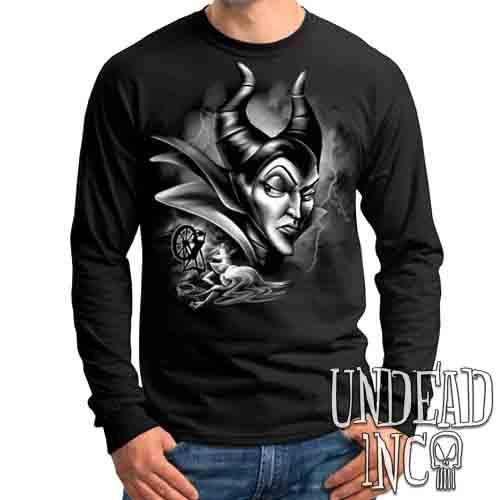 Villains Maleficent Spinning Wheel Black & Grey - Mens Long Sleeve Tee