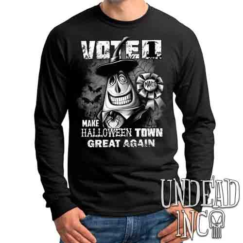 Mayor VOTE 1 Halloween Town Black & Grey - Mens Long Sleeve Tee