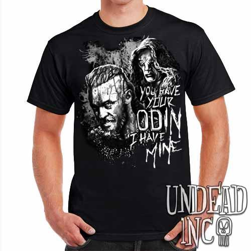 Vikings Ragnar & The Seer - Odin - Mens T Shirt Black Grey