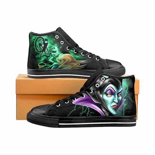 Maleficent Spinning Wheel Men's Classic High Top Canvas Shoes