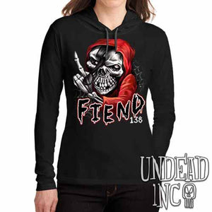 FIEND 138 Misfit - Ladies Long Sleeve Hooded Shirt - Undead Inc Long Sleeve T Shirt,