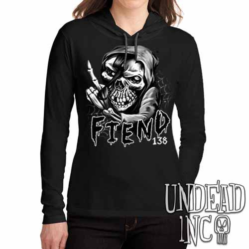 FIEND 138 Misfit Black Grey Ladies Long Sleeve Hooded Shirt - Undead Inc Long Sleeve T Shirt,
