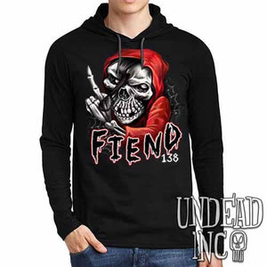 FIEND 138 Misfit - Mens Long Sleeve Hooded Shirt - Undead Inc Long Sleeve T Shirt,