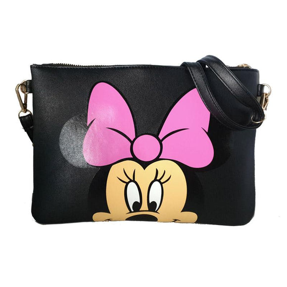 Minnie Mouse Black Cross Body / Shoulder Messenger Bag