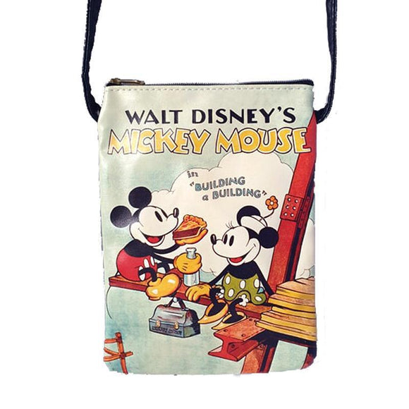 Disney Retro Mickey & Minnie Mouse Mobile Phone Passport Bag Cross Body/ Shoulder