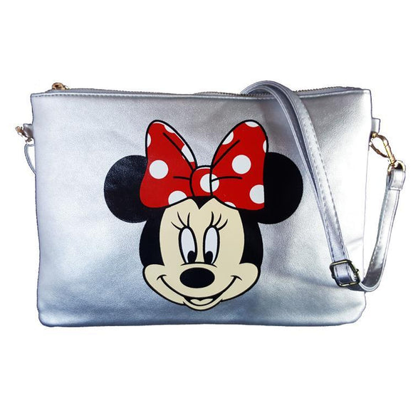 Minnie Mouse Metallic Silver PU Leather Cross Body / Shoulder Bag