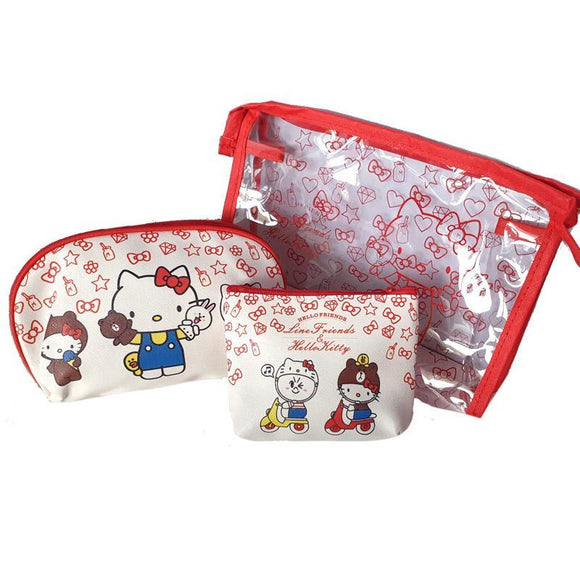 Sanrio Hello Kitty Pu Leather Makeup Cosmetics & Travel Bag Set Of 3