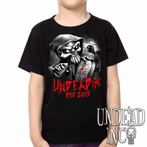 Undead Inc Mortis 1 YR Anniversary LIMITED EDITION Black & Grey Kids Unisex Girls and Boys T shirt