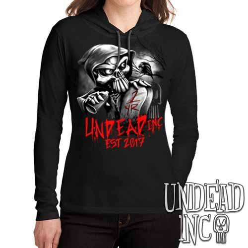 Undead Inc Mortis 1 YR Anniversary LIMITED EDITION Black Grey  Ladies Long Sleeve Hooded Shirt