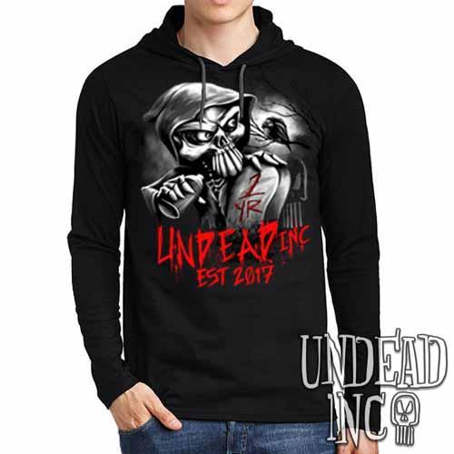 Undead Inc Mortis 1 YR Anniversary LIMITED EDITION Black & Grey Mens Long Sleeve Hooded Shirt