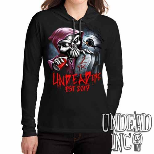 Undead Inc Mortis 1 YR Anniversary LIMITED EDITION - Ladies Long Sleeve Hooded Shirt