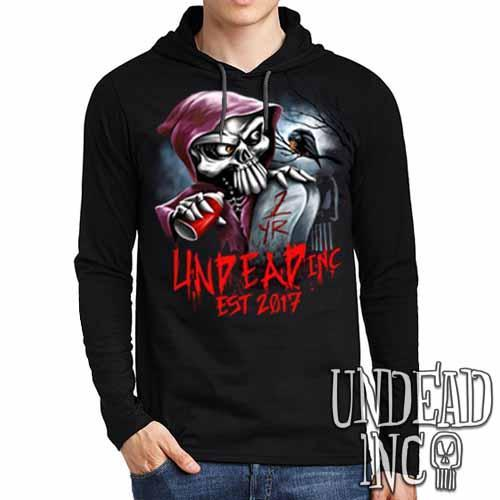 Undead Inc Mortis 1 YR Anniversary LIMITED EDITION - Mens Long Sleeve Hooded Shirt
