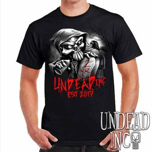 Undead Inc Mortis 1 YR Anniversary LIMITED EDITION Black & Grey Mens T Shirt