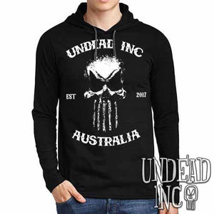 Undead Inc Australia Mortis Skull Rocker - Mens Long Sleeve Hooded Shirt