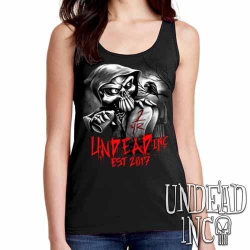Undead Inc Mortis 1 YR Anniversary LIMITED EDITION Black & Grey Ladies Singlet Tank