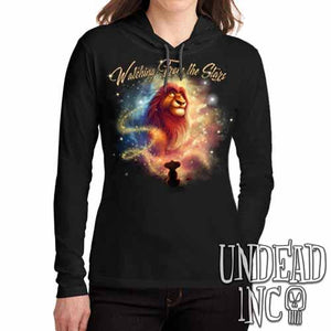 "Lion King Mufasa ""Watching from the Stars"" - Ladies Long Sleeve Hooded Shirt"