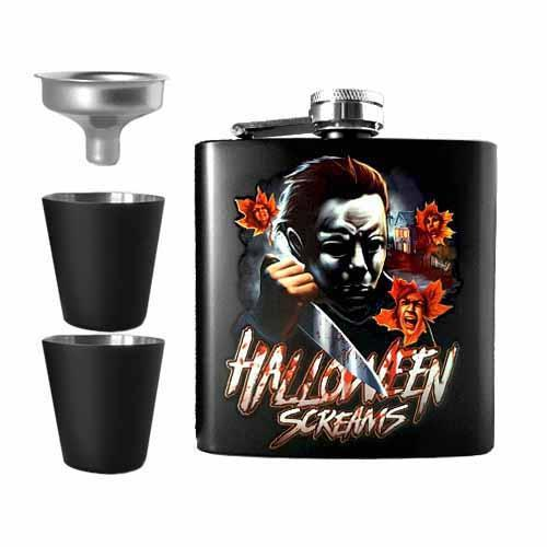 Halloween Screams Michael Myers Undead Inc Hip Flask Set