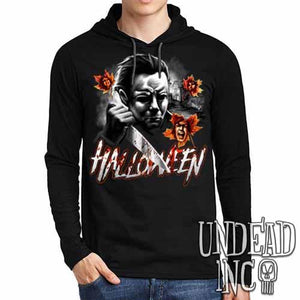Michael Myers Halloween Screams MUTED VARIANT - Mens Long Sleeve Hooded Shirt