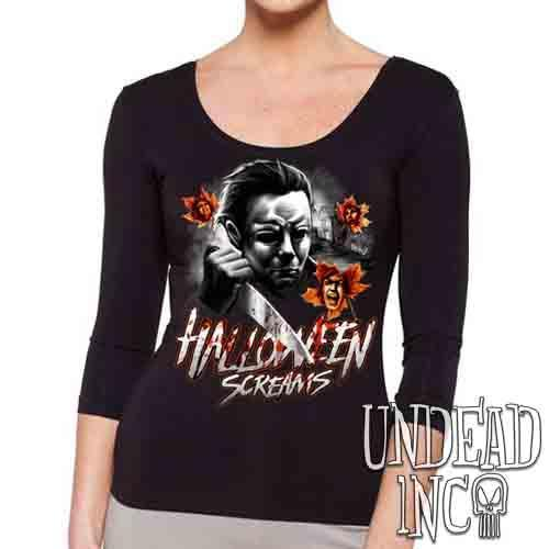 Michael Myers Halloween Screams MUTED Variant - Ladies 3/4 Long Sleeve Tee