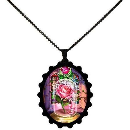 Beauty and the Beast Enchanted Rose STAINLESS STEEL Necklace - Undead Inc ,