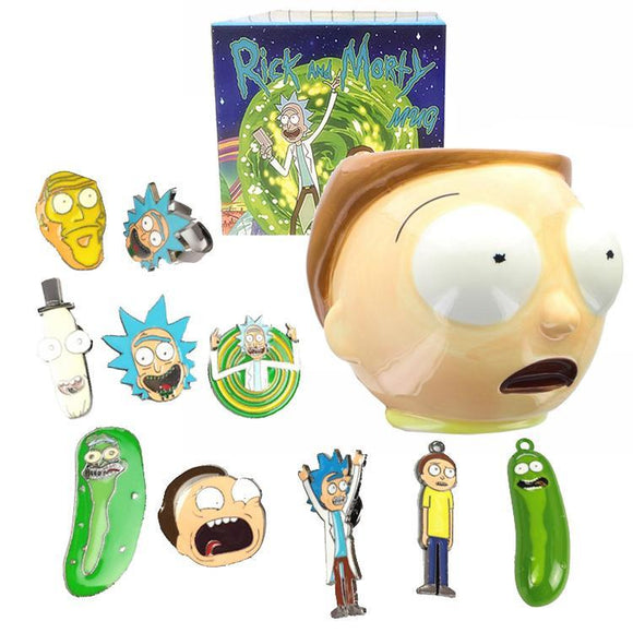 Rick & Morty Necklace Pin & Ring Set With MORTY Mug