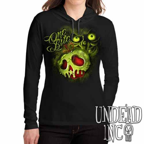Villains One Bite Poison Apple  - Ladies Long Sleeve Hooded Shirt