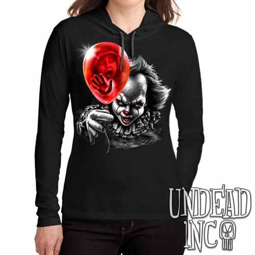 IT Pennywise Balloon Black & Grey - Ladies Long Sleeve Hooded Shirt