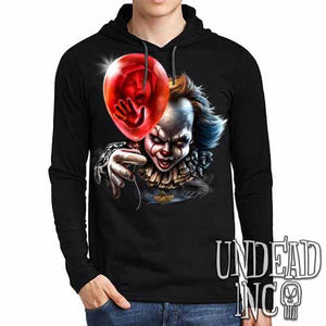 IT Pennywise Balloon - Mens Long Sleeve Hooded Shirt