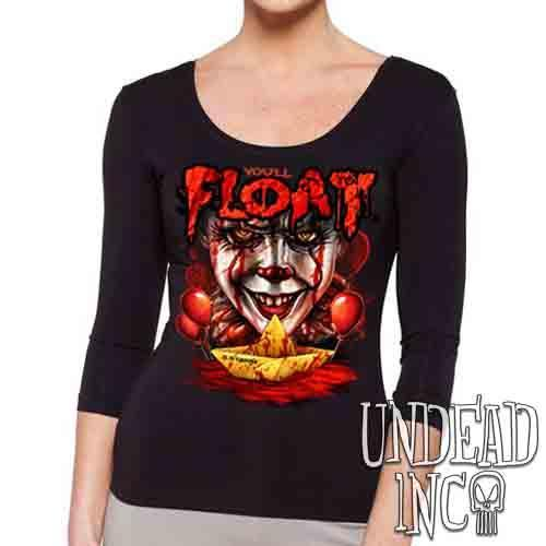 IT Pennywise You'll Float Too - Ladies 3/4 Long Sleeve Tee Ladies 3/4 Long Sleeve Undead Inc