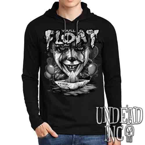 IT Pennywise You'll Float Too Black & Grey - Mens Long Sleeve Hooded Shirt