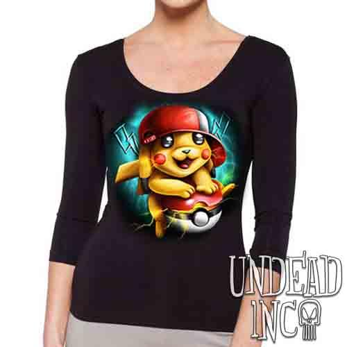 Pikachu - Ladies 3/4 Long Sleeve Tee