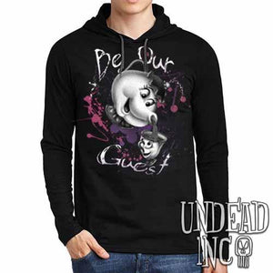 Beauty & the Beast Mrs Potts and Chip Be Our Guest Black Grey Mens Long Sleeve Hooded Shirt - Undead Inc Long Sleeve T Shirt,