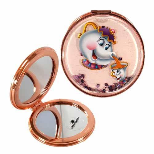 Beauty & The Beast Mrs Potts & Chip Undead Inc LIQUID GLITTER Compact Mirror - Undead Inc compact mirror,