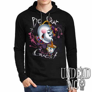 "Beauty and the Beast Mrs Potts and Chip ""Be our guest"" - Mens Long Sleeve Hooded Shirt - Undead Inc Long Sleeve T Shirt,"