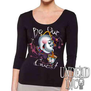 "Beauty and the Beast Mrs Potts and Chip ""Be our guest""- Mens Long Sleeve Tee"