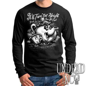 Mrs Potts & Chip It'll Turn Out Alright Black & Grey - Mens Long Sleeve Tee