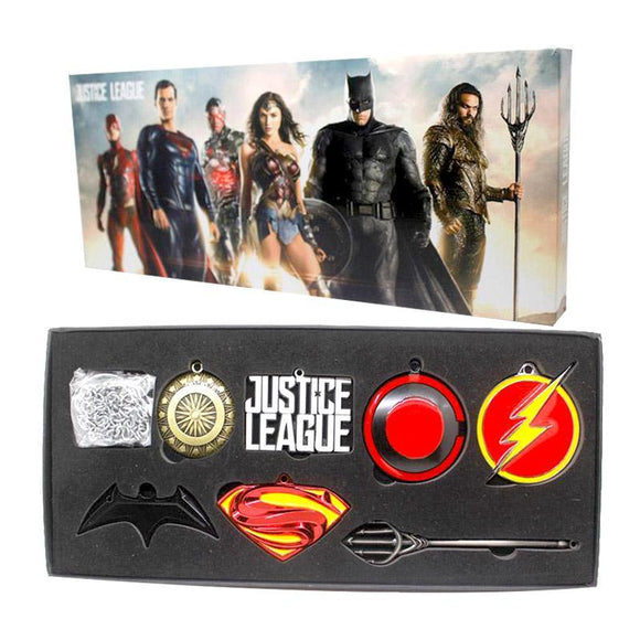 Justice League Necklace & Key Chain Box Set