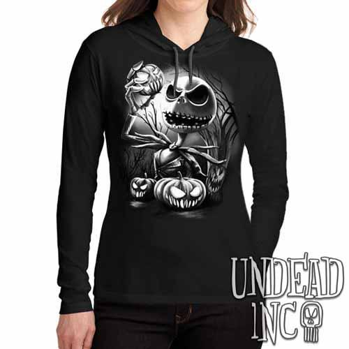 Nightmare Before Christmas Pumpkin King Jack Black Grey Ladies Long Sleeve Hooded Shirt