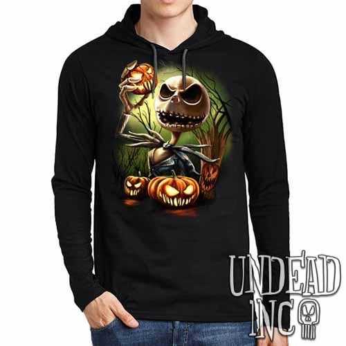 Nightmare Before Christmas Pumpkin King Jack - Mens Long Sleeve Hooded Shirt