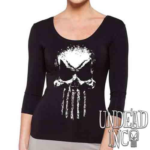 Undead Inc Mortis Skull - Ladies 3/4 Long Sleeve Tee